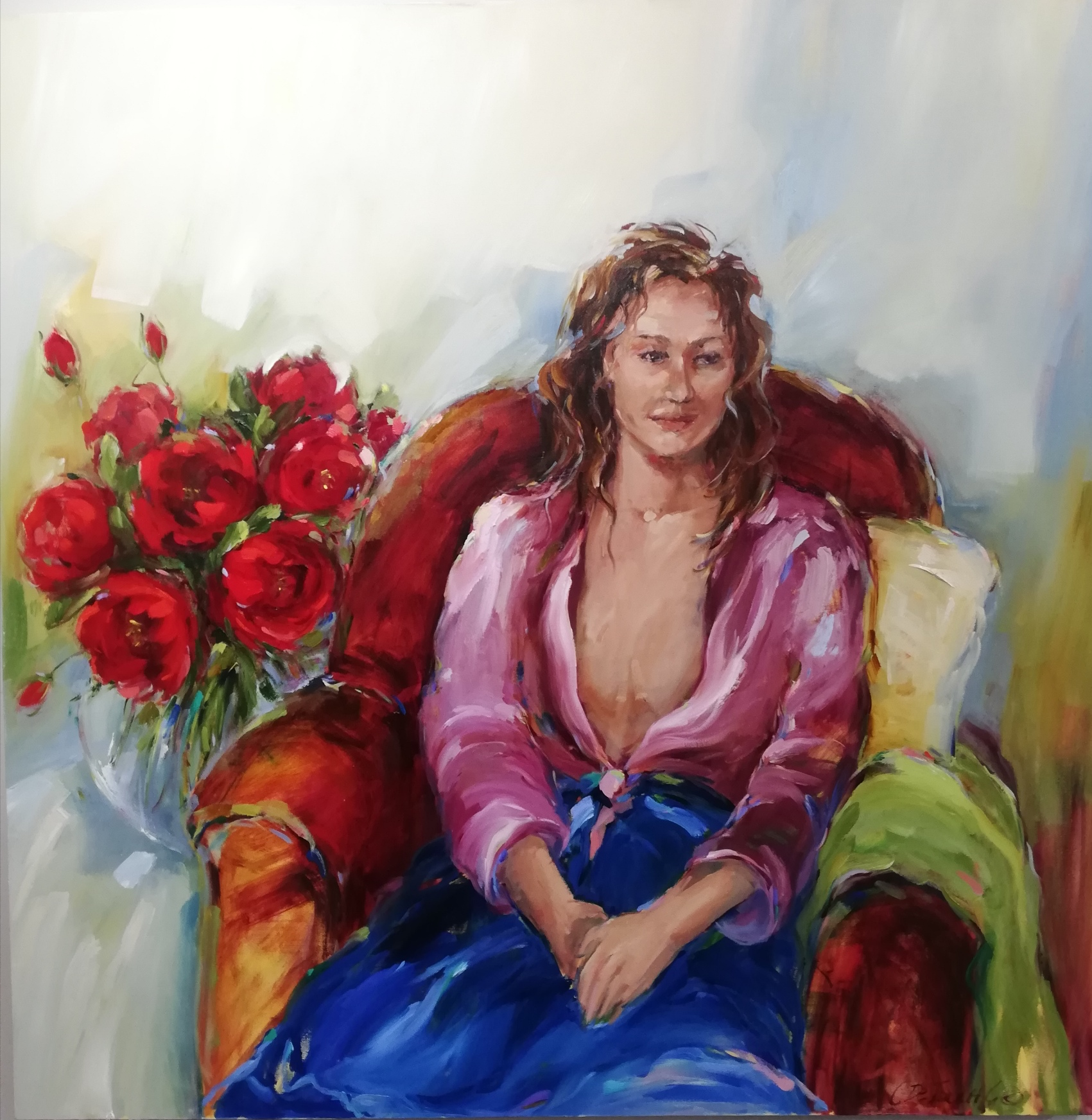 140x140cm Figure with Roses