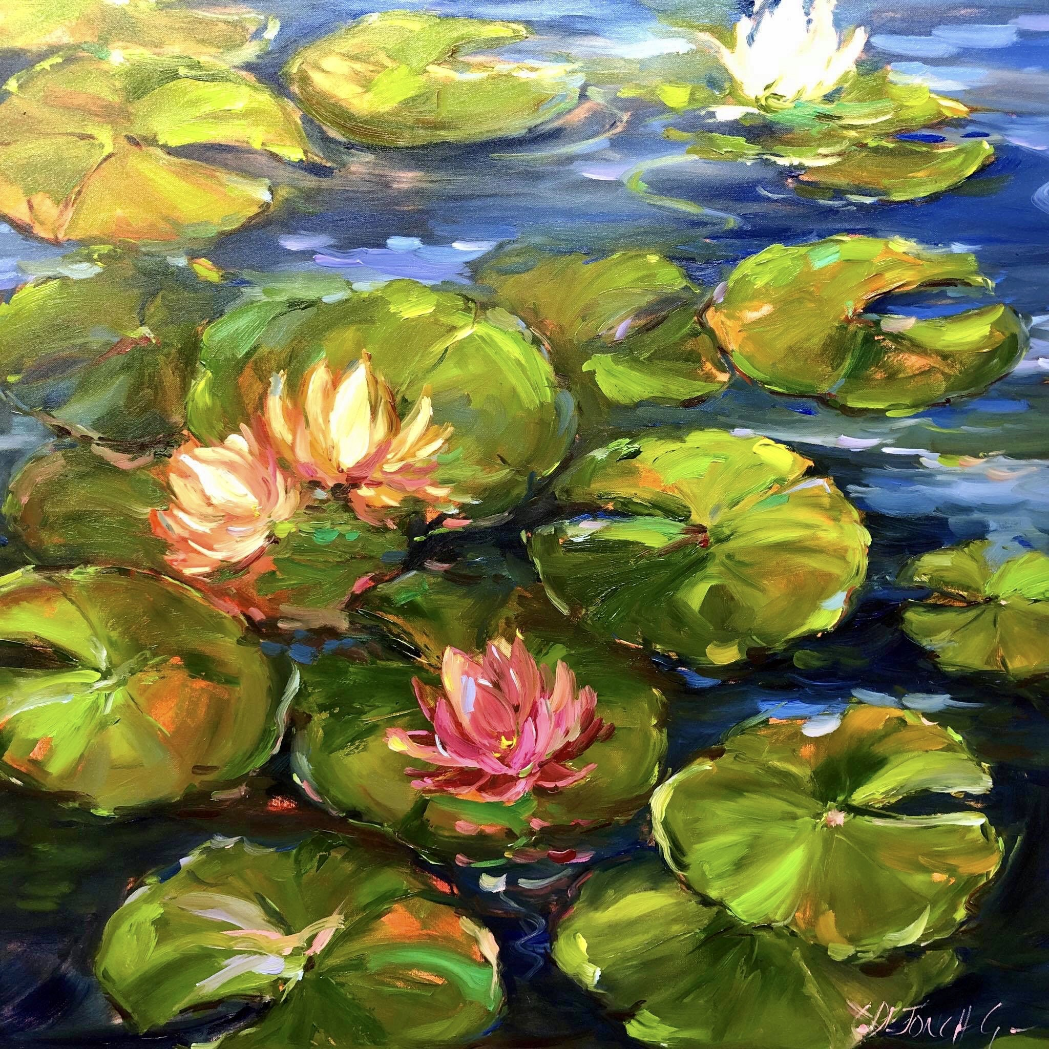 90x90cm Water Lilies